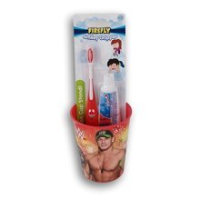 WWE John Cena the Rock Tooth Brushing Kit  Toothbrush, Toothpaste, and Rinsing Cup