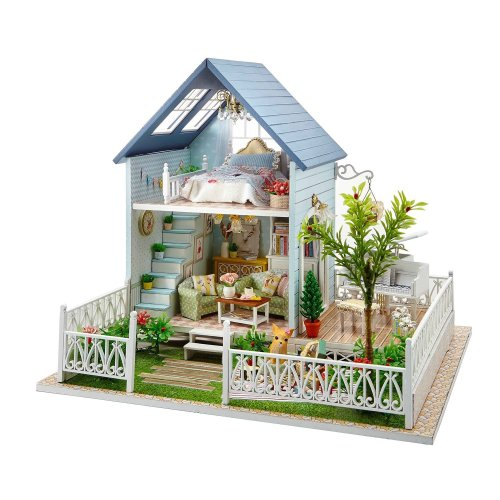 DIY Wooden Dollhouse Handmade Miniature Kit- Forest Villa Model & Furniture/Music box