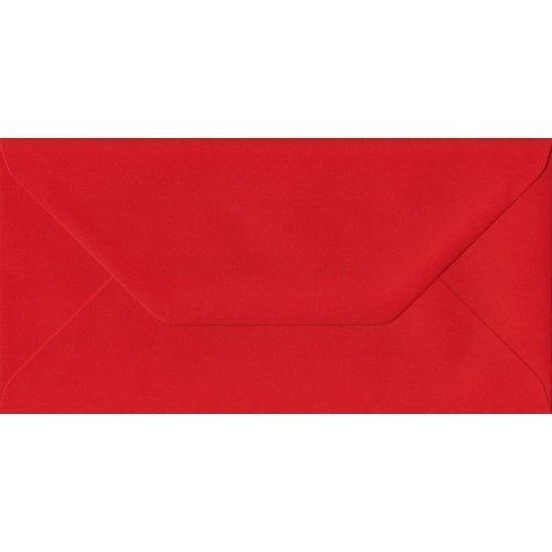 Poppy Red Gummed DL Coloured Red Envelopes. 100gsm FSC Sustainable Paper. 110mm x 220mm. Banker Style Envelope.