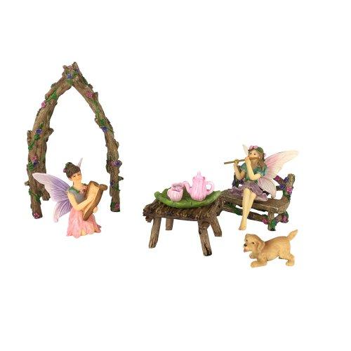 GlitZGlam Musical Sisters Miniature Fairy Set -7- Pieces Miniature Fairy Garden Accessory