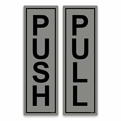 Push and Pull Door Signs 190x60mm Access Awareness Safety, SILVER Self-adhesive Vinyl Stickers (1 Set)