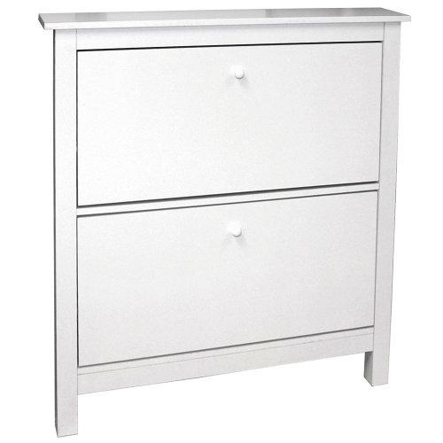 STOWE - 8 Pair 2 Drawer Shoe Storage Organiser Cabinet - White