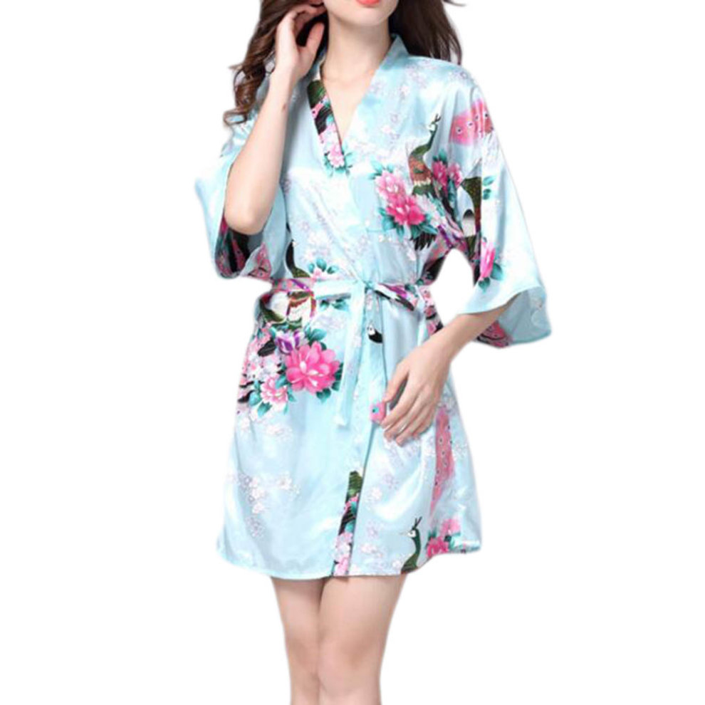 Charming Women Bathrobe Blossoms Peacock Kimono Silk Robes Gown-Light Blue  ... 658c121ac