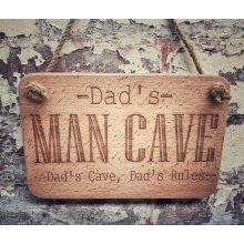 Dad's Man Cave Wooden Sign Engraved / 23x15cm with rope /