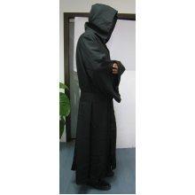 Robe & Hood Warrior Black Linen Material -  hood black robe adult halloween warrior hooded long cloak cape fancy dress reaper monk linen material