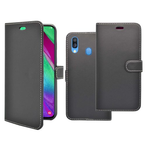 Wallet Flip Cover Case In Black For Samsung Galaxy A40 2019