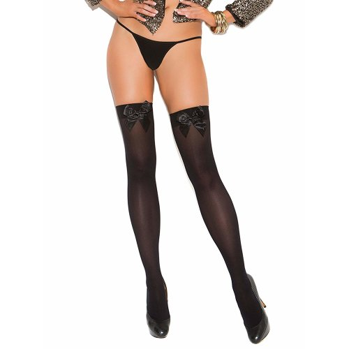 Elegant Moments Opaque Thigh High With Satin Bow Black One Size