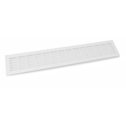 White Aluminium Vent Grill Kitchen Plinth / Worktop Heat  480 x 80 mm