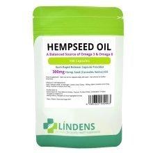 Lindens Powerful Hemp Seed Oil 300mg 100 Capsules Omega 3 6 Hempseed