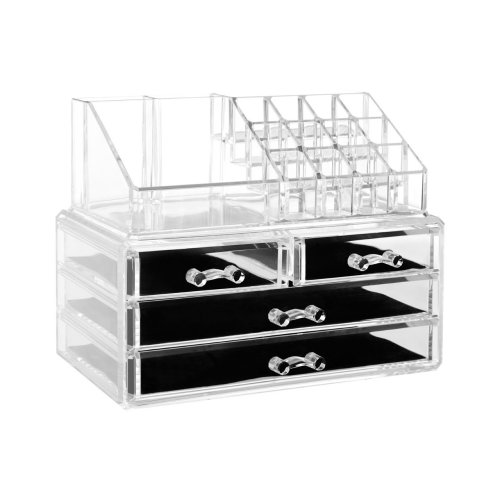 16 Compartment Cosmetics Organiser, Clear