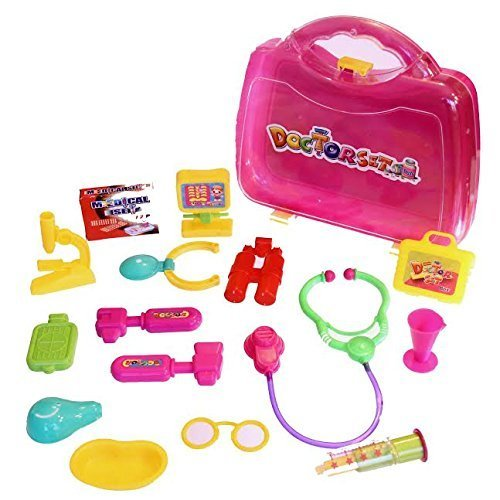 dazzling toys Kids 16 Piece Little Doll Doctors Medical Kit Adorable Accessories Role Play Set
