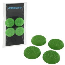 Assecure TPU protective analogue thumb grip stick caps for Sony PS4 controllers [Playstation 4] - 4 pack - green