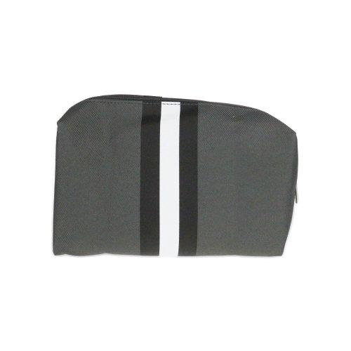 Clinique Mens Dark Gray (Balck &  White Stripe) Toiletry Bag