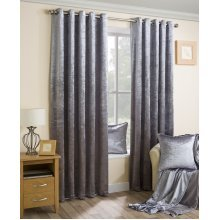 Velva crushed velvet silver grey eyelet curtains