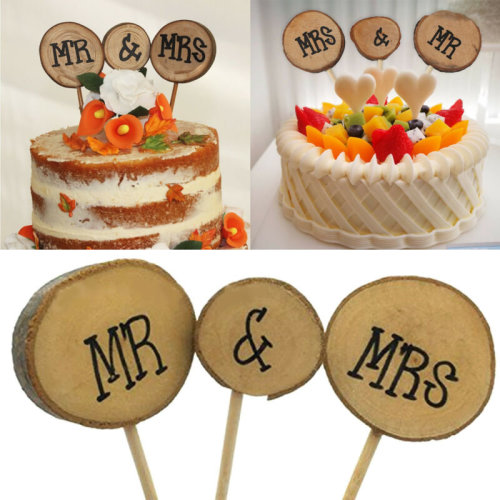 3X Wood Wooden Mr & Mrs Wedding Cake Topper Stick Rustic Decoration Party D¨¦co