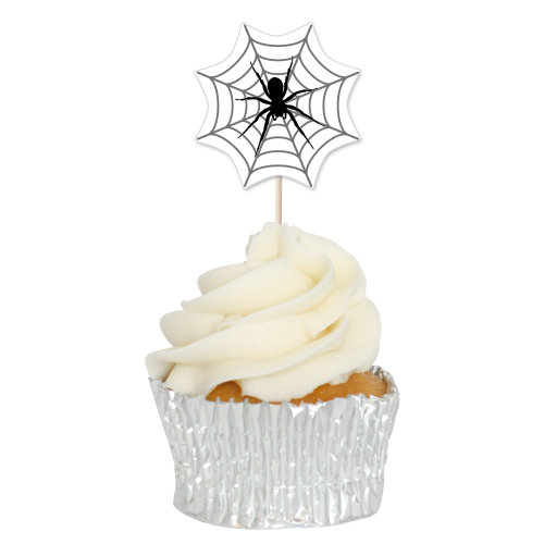 Spider Web Cupcake Toppers Picks - 12pk