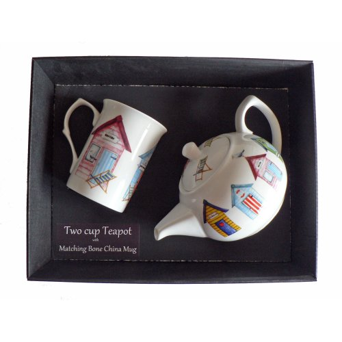 Beach Hut Teapot and Bone China Mug Gift Set