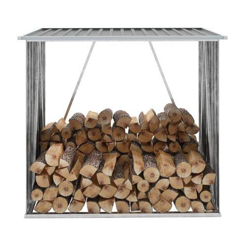 vidaXL Garden Log Storage Shed Galvanised Steel 163x83x154cm Grey Timber Cabin