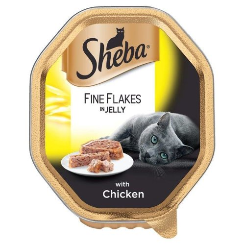 Sheba Tray Fine Flakes With Chicken In Jelly 85g (Pack of 22)