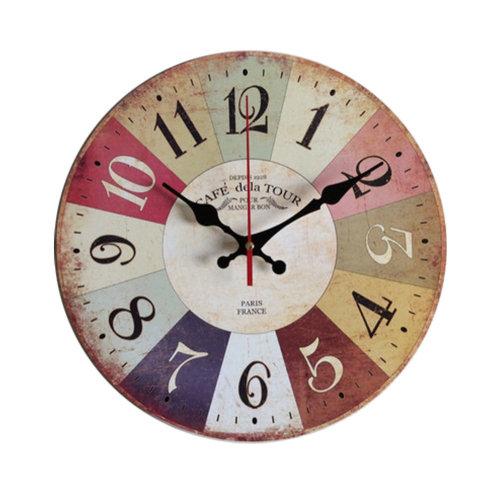 Retro Nostalgia Wooden Wall Clock Vintage Look Home Decoration(14'', A)