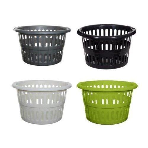 Plastic Round Laundry Basket Washing Up Clothes Linen Bin