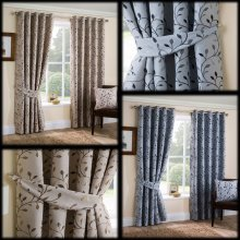 Delamere woven jacquard trailing leaves lined eyelet curtains