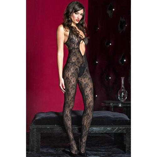 Catsuit open kruis met print - Zwart  Ladies Lingerie Thongs - Music Legs