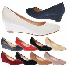 Wendy Womens Low Wedge Heel Slip On Smart Court Shoes
