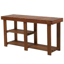 HOMCOM Acacia Wood 3-tier Shoe Rack Bench Storage Shelf Organiser Hallway Stand Teak Colour