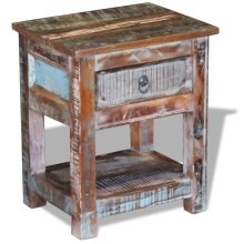 vidaXL Side Table with 1 Drawer Solid Reclaimed Wood 43x33x51 cm