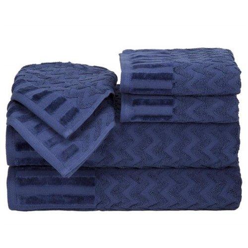 Bedford Home 67A-27599 6 Piece Cotton Deluxe Plush Bath Towel Set - Navy