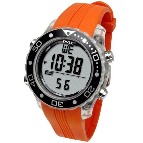 Pyle PSNKW30O Snorkeling Master with Dive Duration  Depth  Water Temp.  Max. 100 Dive Records  Dive Alarm When Emerging Too Fast -Orange