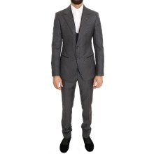 Dolce & Gabbana Gray Polka Dotted Slim Fit 3 Piece Suit