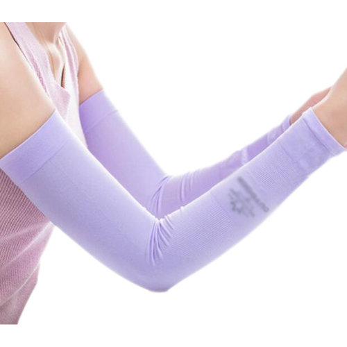 Unisex Outdoor Sunscreen Clothing Arm Skin Care Breathable Cycling Sun Protective Sleeves- Purple