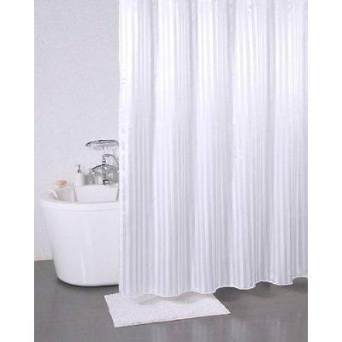 Sabichi White Satin Stripe Polyester Shower Curtain - Modern Bathroom Ring -  shower curtain satin stripe sabichi white modern bathroom ring hooks