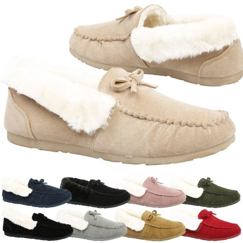 Vera Womens Flat Fully Fur Lined Moccasin Slippers