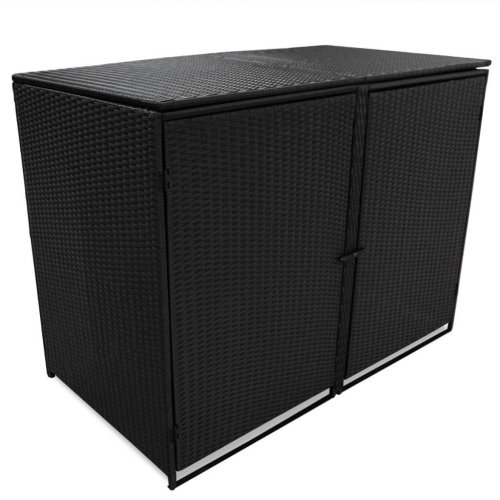 vidaXL Double Wheelie Bin Shed Poly Rattan Black 148x80x111 cm