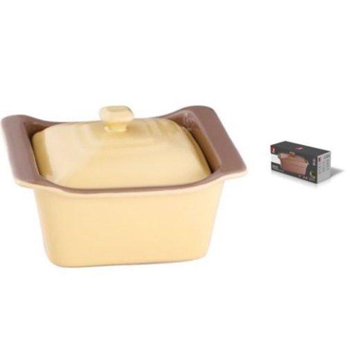 Bergner Cream Stoneware Oven Baking Dish Rectangular Deep Baking Pan with Lid 0.5 litres