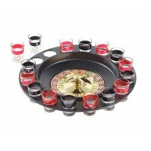 Roulette 6958446334972 Shot Spinning Drinking Game Set (2 Balls and 16 Glasses), Black