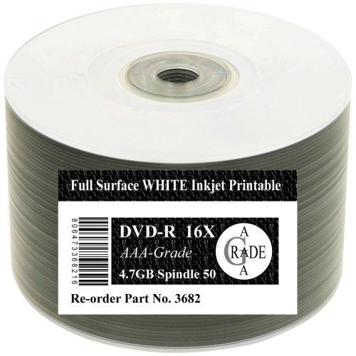 Spool of 50 RiTEK F1 - DVD-R 4.7GB 16X Inkjet Printable White Top Full Face spindle 50 pack
