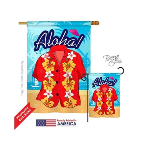 Breeze Decor 06072 Summer Paradise Shirt 2-Sided Vertical Impression House Flag - 28 x 40 in.