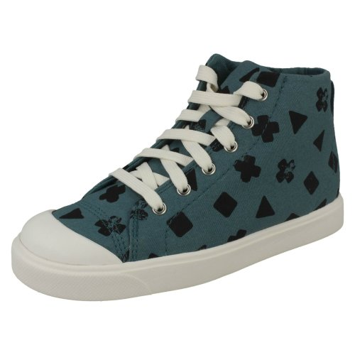 Boys Clarks Casual Hi Top Trainers City Flare HI K - F Fit