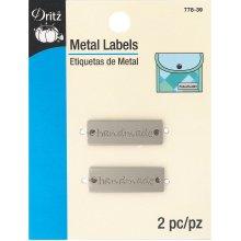 Dritz Metal Labels 2/Pkg-Matte Nickel-Handmade