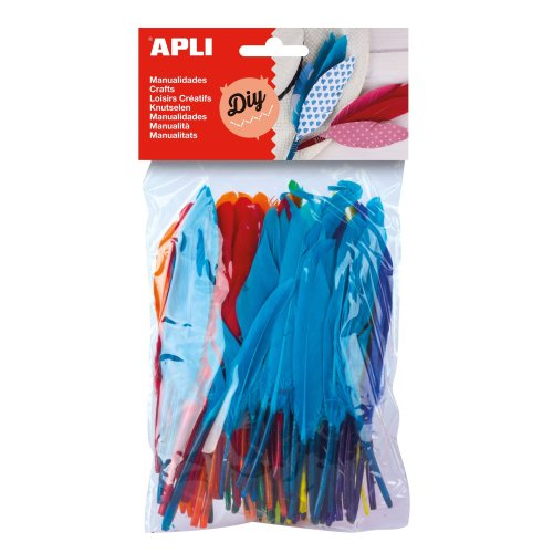 Apli Kids Feathers for Craft Work - Assorted Colours (Pack 100)