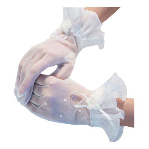 Girls / Ladies Lace Bridal Bride Short Gloves Wrist Wedding Party Costume Prom,E