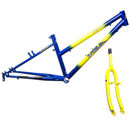 "BULK BUY OF 4 GIRL VELA-ZEPHYR GIRLS 24"" WHEEL BIKE FRAMES & FORKS BLUE & YELLOW"