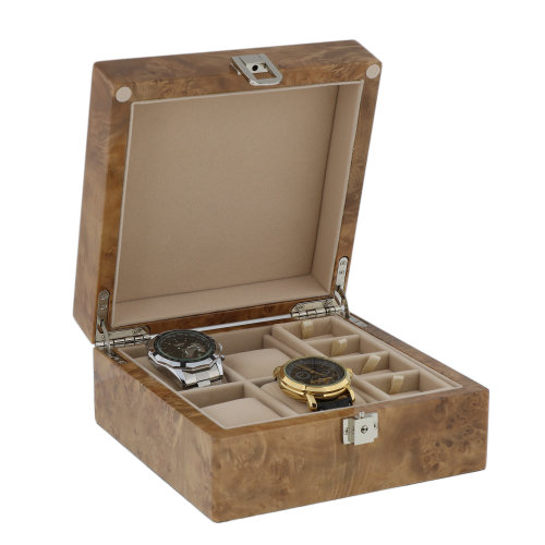 4 Watch and 8 Cufflink Box Light Burl Wood with Solid Lid by Aevitas
