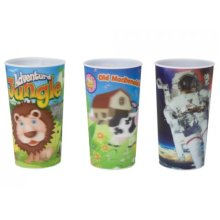 530ml Lenticular Kid's Design Drinking Cup - 3 Assorted Designs -