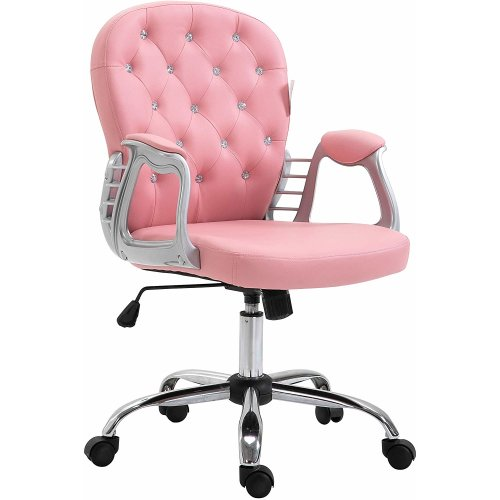 Cherry Tree Furniture Chesterfield Diamante Button Swivel Chair with Chrome Feet