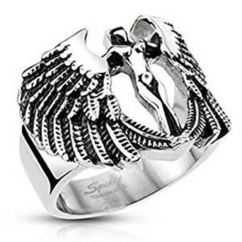 Detailed Winged Archangel Goddess Wide Cast 19mm Width Surgical Steel Band Ring